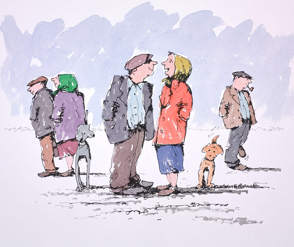 The Daily Chance Meeting by george somerville -  sized 12x10 inches. Available from Whitewall Galleries